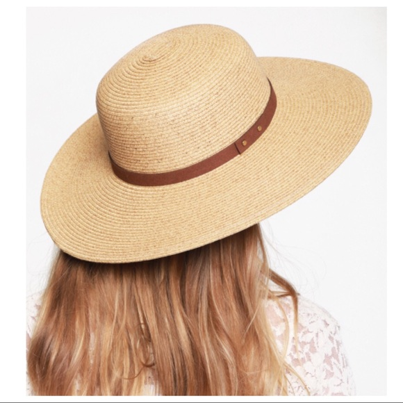 Wide Brim Natural Straw Sun Hat Vegan Leather Band e44ec42660e6